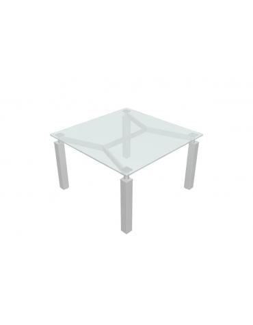 Tavolo riunione quadrato in vetro su capitelli cm 120x120x73,5h