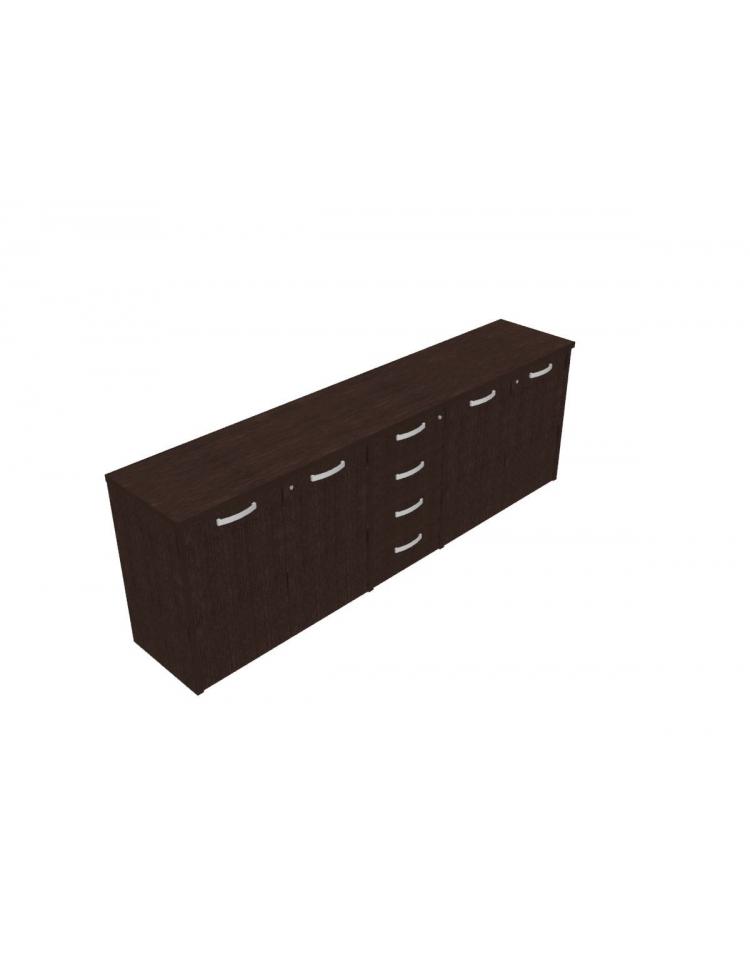 Mobile basso direzionale con ante con serratura e cassettiera cm 237x47x83h - Mobile con serratura ...