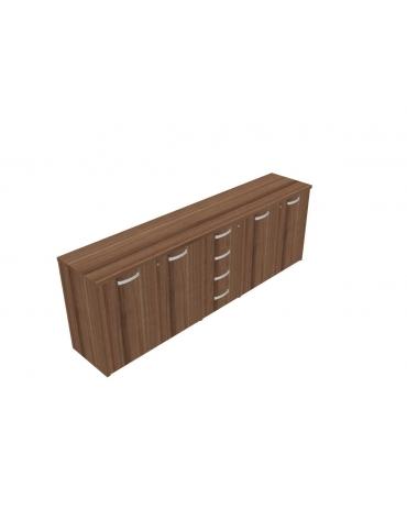 Mobile basso  direzionale con ante con serratura e cassettiera - cm 237x47x83h