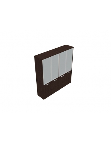 Mobile alto direzionale con ante inf. in legno con serratura e sup. in vetro - cm 189x47x198h