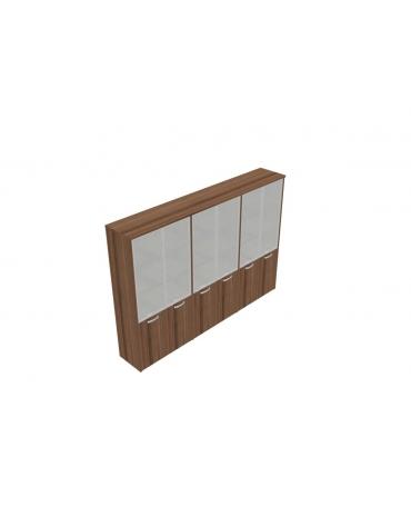 Mobile alto direzionale con ante inf. in legno con serratura e sup. in vetro - cm 282x47x198h
