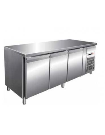 Tavolo refrigerato 3 porte positivo per pasticceria cm. 202x80x85h
