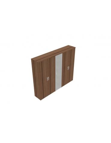 Mobile alto con ante intere in legno con serratura e in vetro - cm 237x47x198h