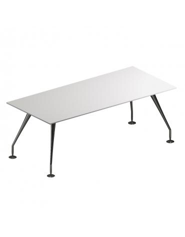 Tavolo riunione con piano in cristallo e gambe verniciate - cm 200x120x74h