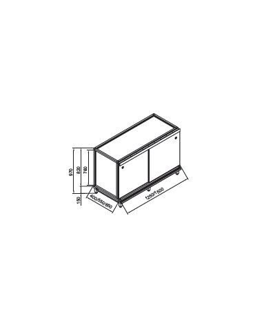 Retrobanco bar neutro da cm. 150 con top ed antine inox