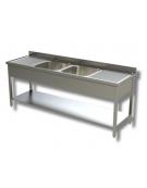 Lavello inox con ripiano 2 vasche+2 gocciolato cm.200x70x85h
