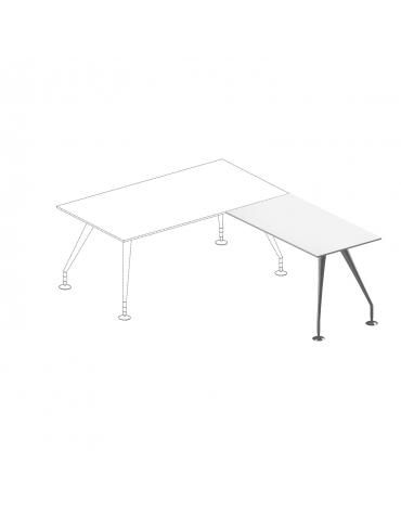 Allungo scrivania dir. - pi. in cristallo bianco extra - gambe cromate - cm 120x65x74h