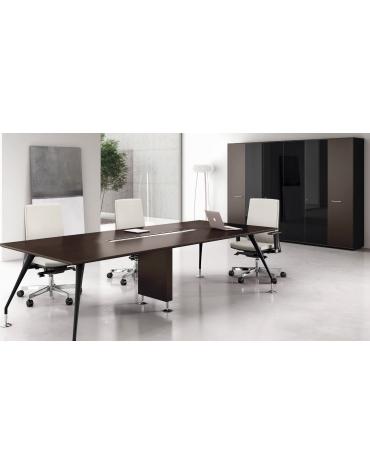 Tavolo riunione rettangolare piano in legno - gambe verniciate - cm 380x120x74h