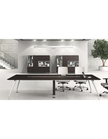 Tavolo riunione rettangolare piano in legno - gambe cromate - cm 380x120x74h