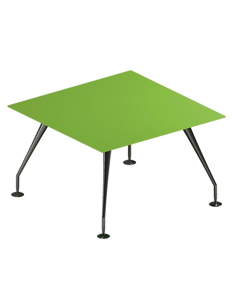 Tavolo riunione direzionale quadrato con piano in cristallo e gambe cromate - cm 120x120x74h ...