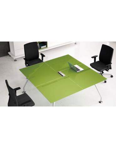 Tavolo riunione direzionale quadrato con piano in cristallo e gambe cromate - cm 160x160x74h