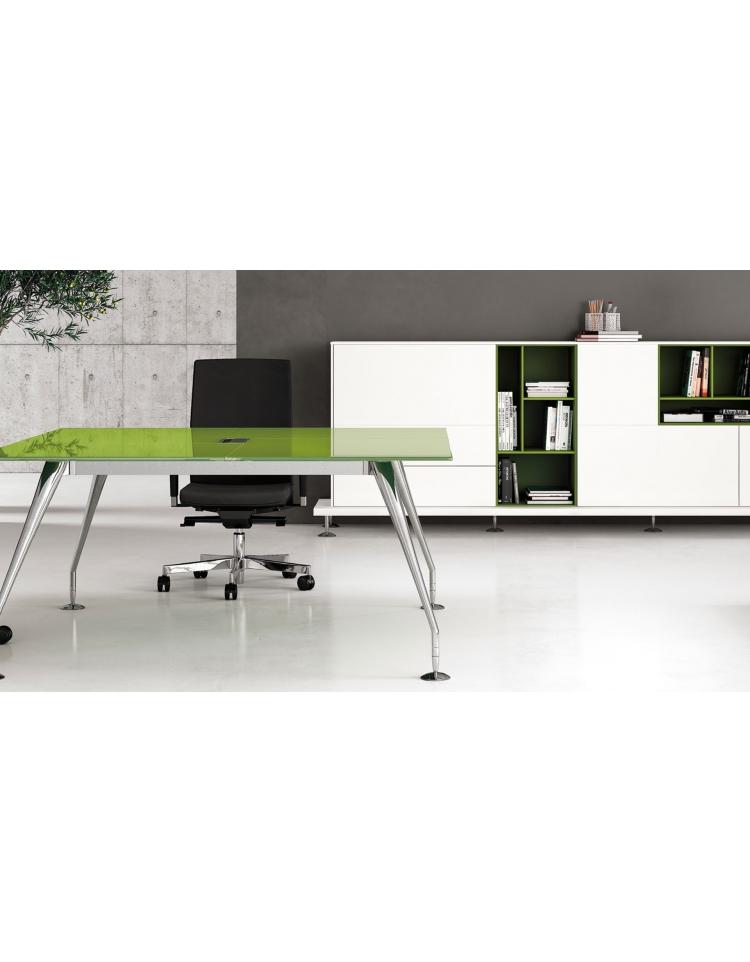 Tavolo riunione direzionale quadrato con piano in cristallo e gambe cromate - cm 160x160x74h ...