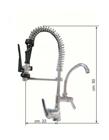 Gruppo doccia MINI con rubinetto a metà e miscelatore leva corta - ALTEZZA TOTALE CM 50