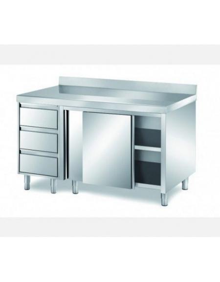 Tavolo armadiato inox con cassettiera ed alzatina cm - Tavolo acciaio inox usato ...