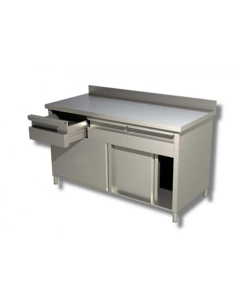 Tavolo armadiato inox con cassettiera ed alzatina cm 150x60x85h profondita 39 cm 60 con - Tavolo profondita 60 cm ...