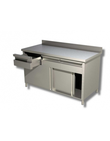 Tavolo armadiato inox con cassettiera ed alzatina cm 150x60x85h