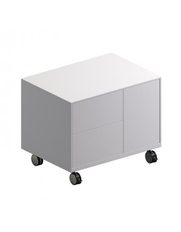 Mobile di servizio in legno su ruote con 2 cassetti cm 75x53x60h