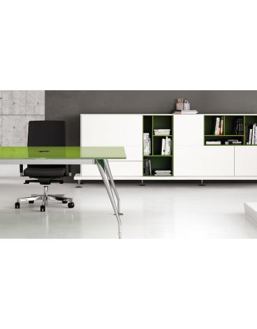 Mobile medio con 2 ante in vetro colore bianco extra - cm 90x46x155,5h