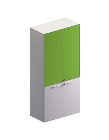 Mobile alto con 2 ante in vetro + 2 ante in vetro colore bianco extra - cm 90x46x194h