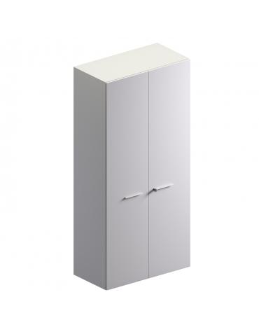 Mobile alto con 2 ante in vetro colore bianco extra - cm 90x46x194h