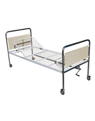 Letto degenza ospedaliera con schienale regolabile a 1 snodo con ruote - cm 206 x 89 x h 90