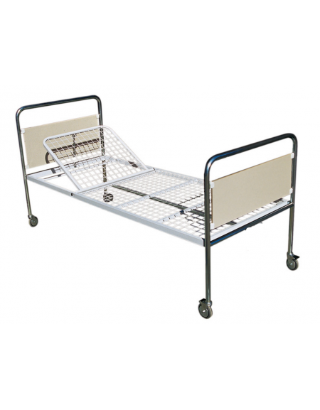 Letto degenza ospedaliero standard Plus, in acciaio cromato - con ruote -  cm 206x89x90h
