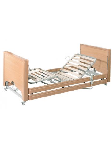 Letto degenza ospedaliero in legno a 3 snodi, 4 sezioni con altezza regolabile - cm 103x214x23/63h