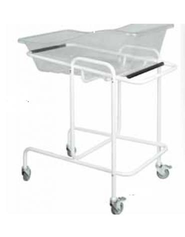 Culla neonati con carrello in materiale plastico trasparente - 4 ruote girevoli - portata: 10 kg - cm 83,5x52,5x90h