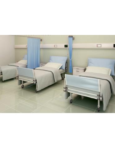 Tenda ospedaliera in Trevira®, colore azzurro -  ignifugo, antiallergico, antibatterico, impermeabile - cm 225 x 145