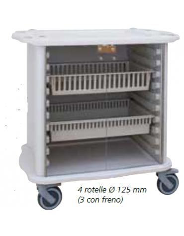 Carrello di servizio ospedaliero Aurion mini 600 - ISO - cm 59x99,3x88h