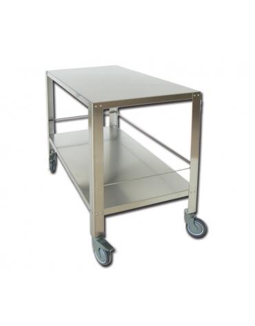 Tavolo carrellato per sala operatoria o porta strumenti, in acciaio inox AISI 304 - cm 120x65x95h