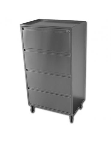 Carrello portastrumenti in acciaio inox per sala operatoria - 4 cassetti - cm 60x40x110h