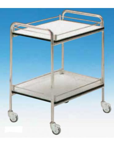 Carrello ospedaliero con corpo e maniglie in alluminio  - con spondine - medio - cm 70x50x78h