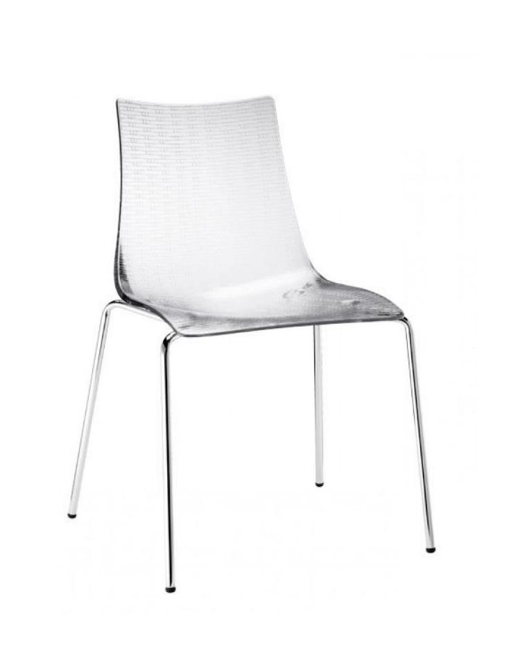sedia in acciaio e scocca in policarbonato trasparente
