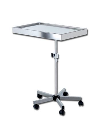 Tavolo di Mayo  in acciaio inox e vassoio rimovibile - carrello a 5 razze - altezza regolabile