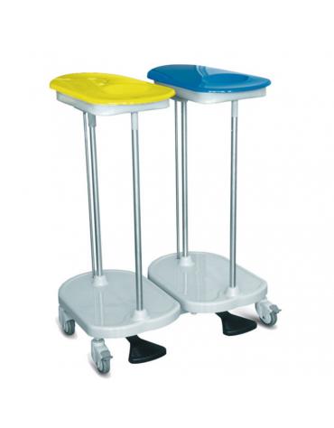 Carrello da biancheria con apertura a pedale - 2 sacchi - rotelle pivottanti