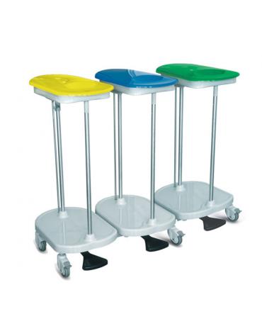 Carrello da biancheria con apertura a pedale - 3 sacchi - rotelle pivottanti