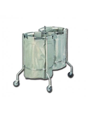 carrello biancheria - cromato dotato di 4 rotelle - sacchi asportabili inclusi - cm Ø 46x90h