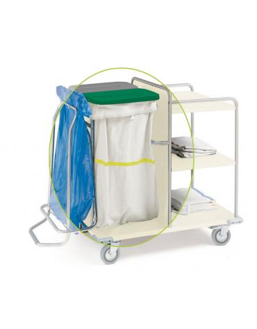 Sacco per carrelli lavanderia in tessuto sintetico bianco con striscia gialla. - cm 57X103h