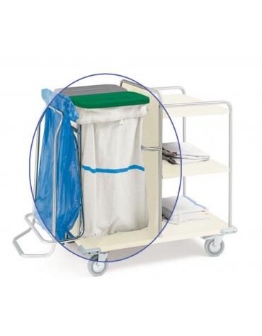 Sacco per carrelli lavanderia in tessuto sintetico bianco con striscia blu - cm 57X103h