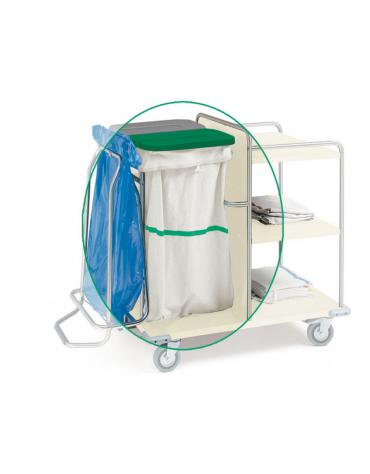 Sacco per carrelli lavanderia in tessuto sintetico bianco con striscia verde - cm 57X103h