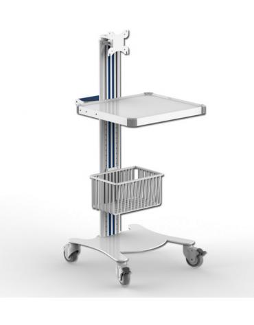 Carrello ospedaliero multifunzione - 1 maniglia, 1 ripiano e supporto per monitor - cm 47x42x79h