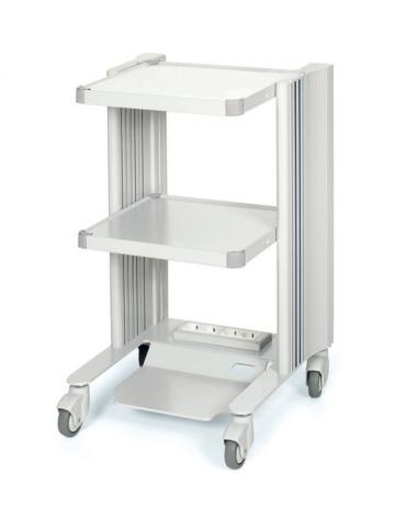 Carrello ospedaliero h 79 cm, con 3 ripiani di 40 x 36 cm e 4 prese elettriche - cm 50x45x79h