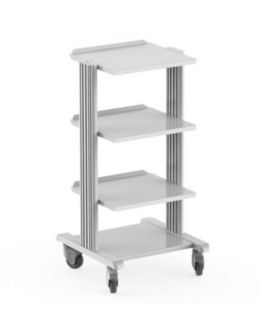 Carrello ospedaliero con struttura in alluminio cm 90h - 4 ripiani cm 40x36 - 4 rotelle