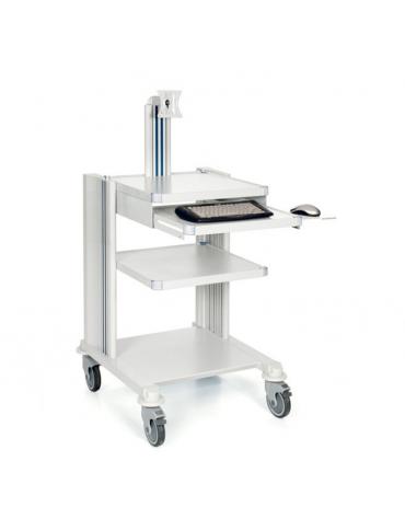 Carrello ospedaliero professionale con base, 2 ripiani e 2 colonne passacavi - con supporto tastiera e monitor.
