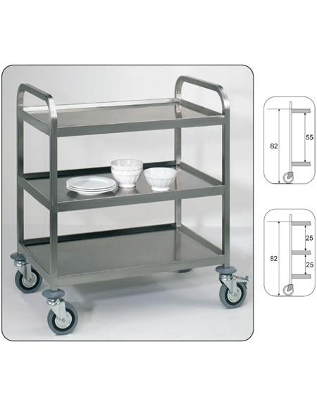 Carrelli inox con piani stampati, saldati per trasporto pesante