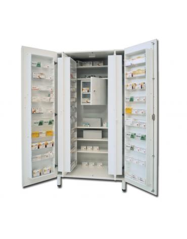 Armadio portafarmaci in melamina - bianco, 48 scomparti e 5 ripiani regolabili - cm 100x60x195h