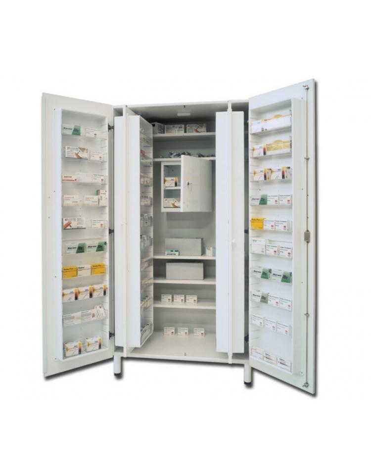 Armadio Farmaci Con Tesoretto.Armadio Portafarmaci In Bilaminato Bianco 48 Scomparti E 5 Ripiani Regolabili Cm 100x60x195h Dinaforniture It