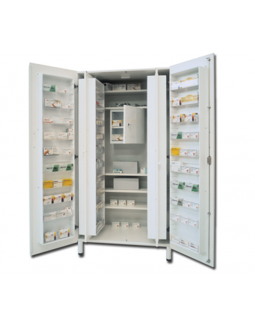 Armadio portafarmaci in melamina - colore bianco, 48 scomparti - 5 ripiani regolabili - cm 100x60x195h