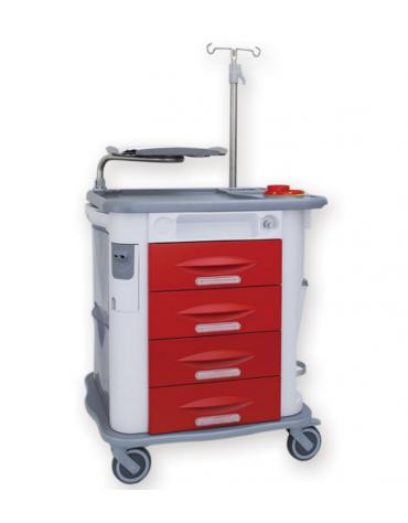 Carrello emergenza - 4 cassetti - asta portaflebo, porta defibrillatore, tavola per massaggio cardiaco - cm 77,5x71x92h